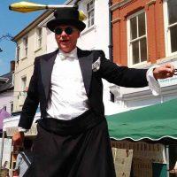 Mr Jules Brecon Jazz festival Stiltwalkabout