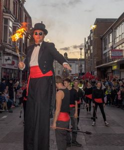 Mr Jules on Parade Bridgend Festival of Light Lantern Parade and Fire Show - photo John Finch