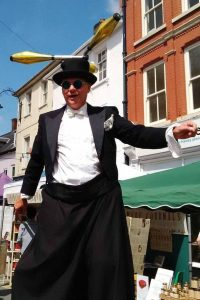 Mr Jules Brecon Jazz festival Stiltwalkabout