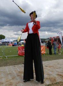 Mr Jules stilts Urdd Eisteddfod