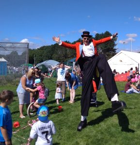 Mr Jules stilt dancing Ynysybwl