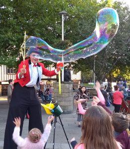 Mr Jules Bubbles on stilts fun