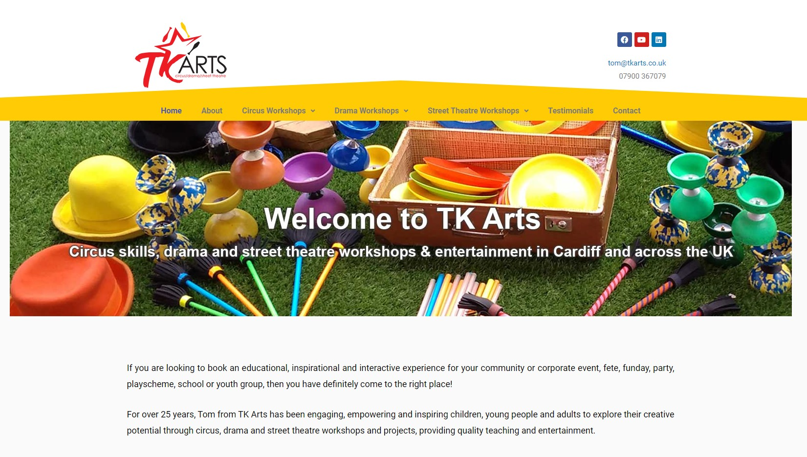 TK Arts front page